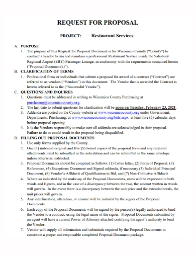 restaurant services project proposal