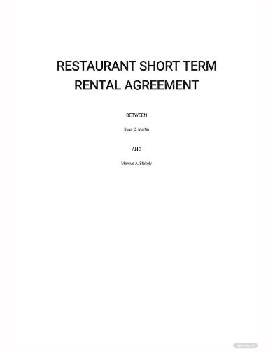 restaurant short term rental agreement template
