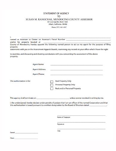 sample agency statement