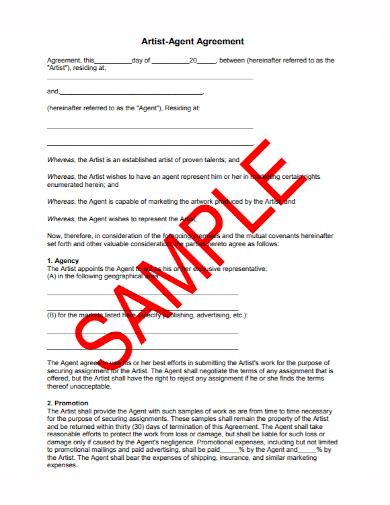 sample artist agent agreement