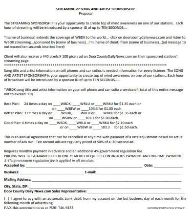 sample artist sponsorship proposal
