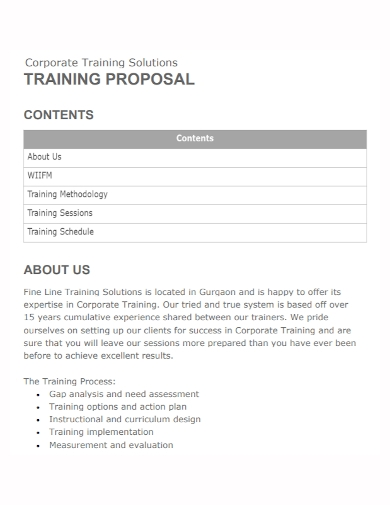 sample corporate training proposal