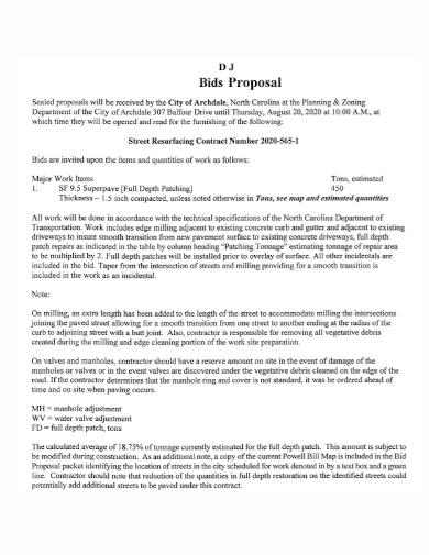sample dj bid proposal