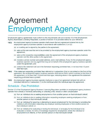 sample employment agency agreement
