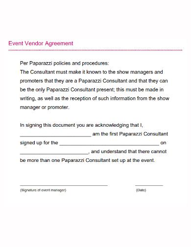 sample event vendor agreement