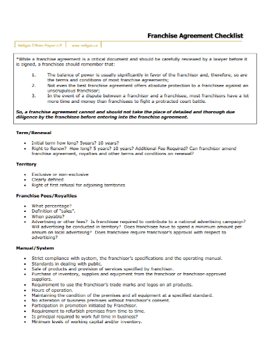 sample franchise agreement checklist