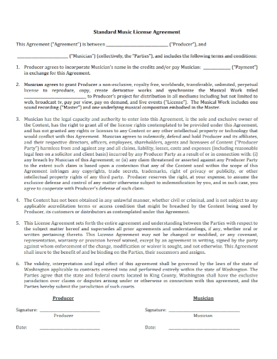 sample music license agreement