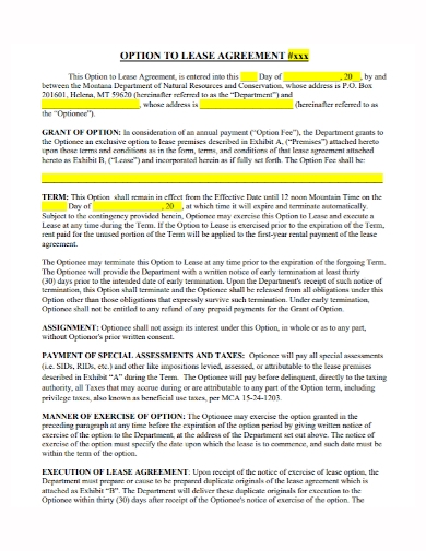 sample option to lease agreement