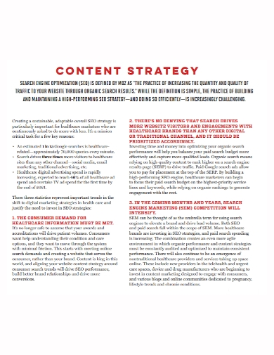 sample seo content strategy