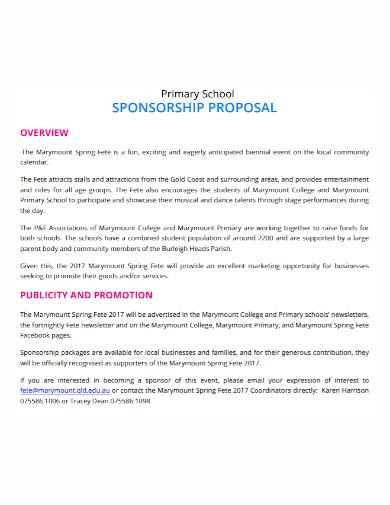 sample school sponsorship proposal