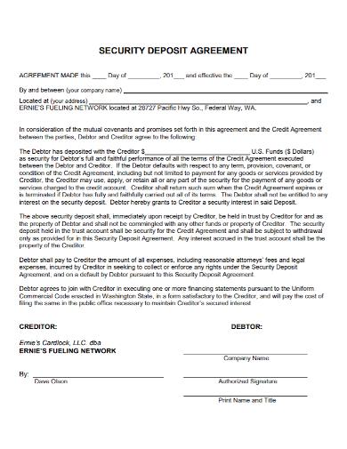 sample security deposit agreement