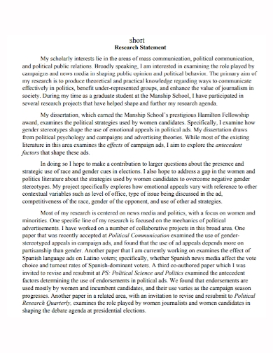 sample short research statement