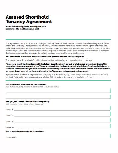 sample shorthold agreement