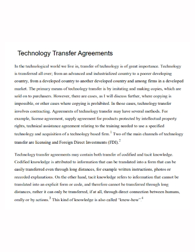 sample technology transfer agreement