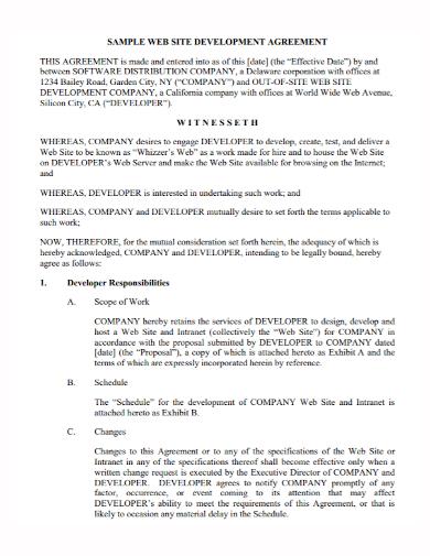 sample web development agreement