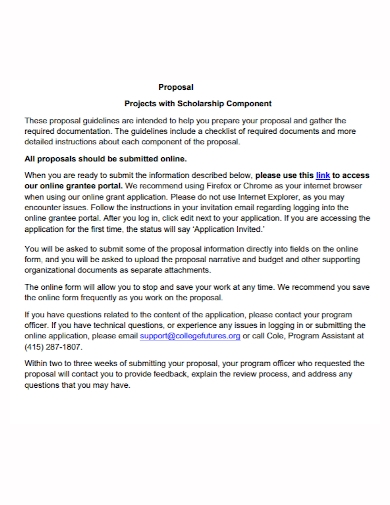 scholarship component project proposal