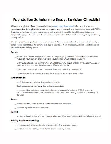 scholarship essay revision checklist