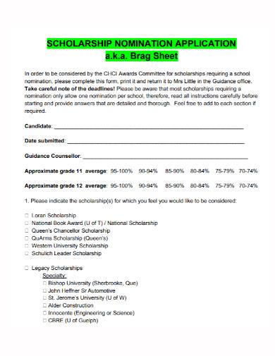 scholarship nomination application brag sheet