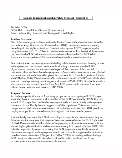 scholarship policy proposal