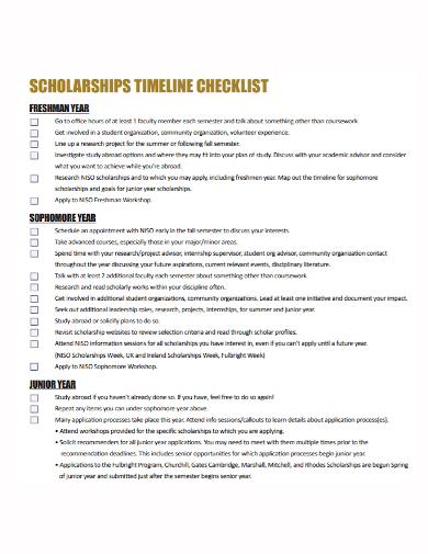 scholarship timeline checklist