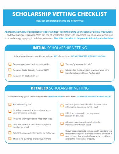 scholarship vetting checklist