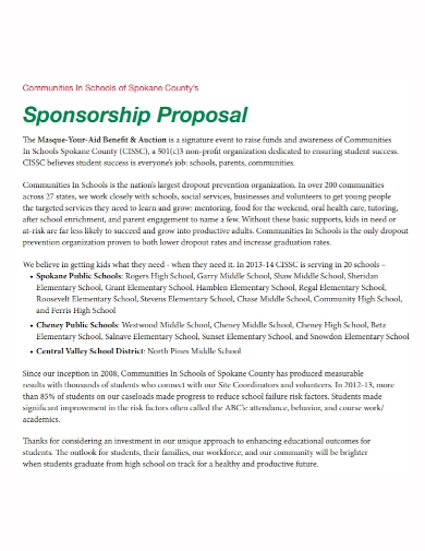 school community sponsorship proposal