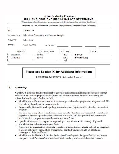 school leadership fiscal impact statement