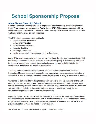 school sponsorship proposal