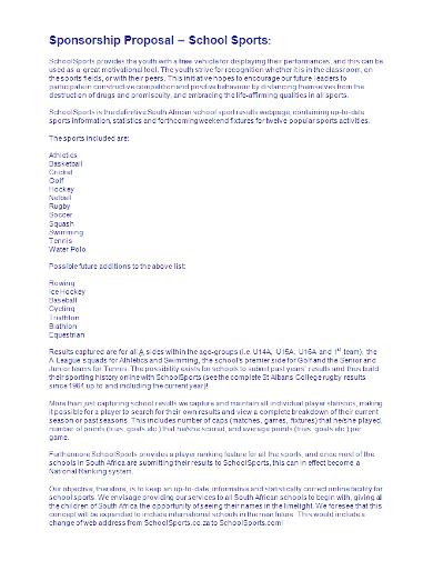school sports sponsorship proposal