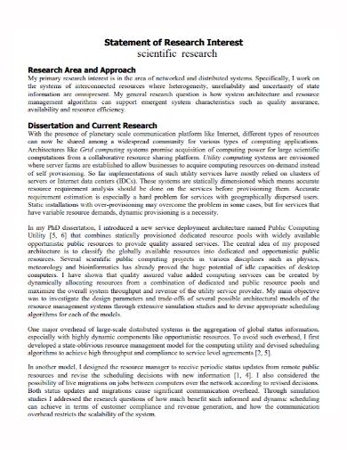 scientific research interest statement