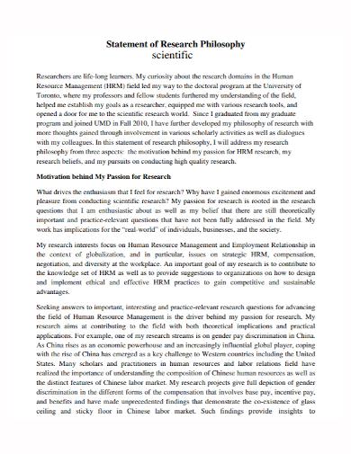 scientific research philosophy statement