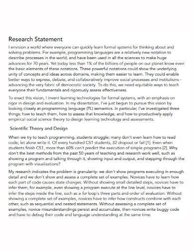 scientific theory research statement