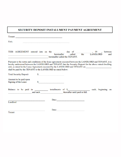 security deposit payment agreement