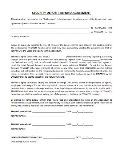 security deposit refund agreement