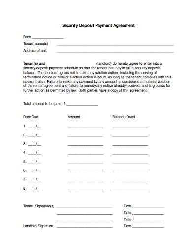 security tenant deposit agreement