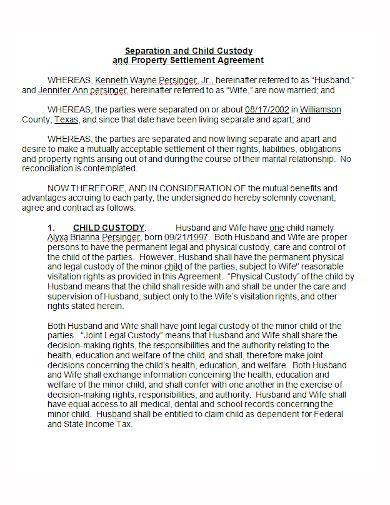 separation child custody property agreement