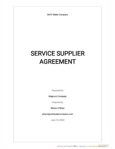 service supplier agreement template