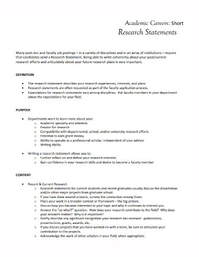 short academic career research statement