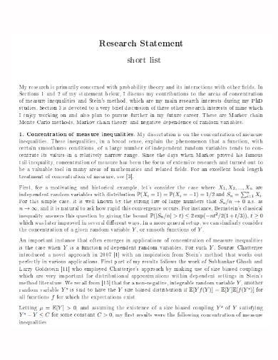 short list research statement