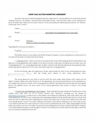short sales auction and marketing agreement