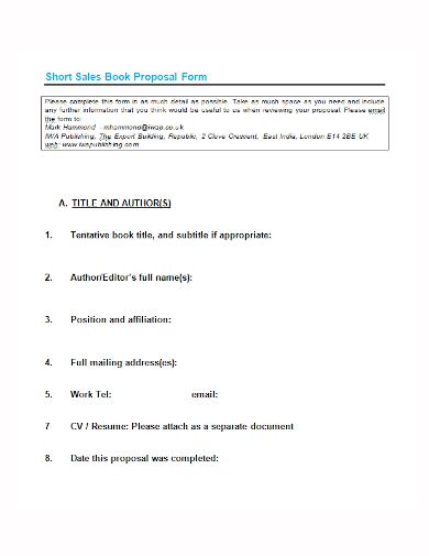 short sales book proposal form