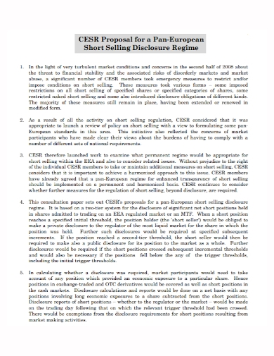 short sales disclosure proposal