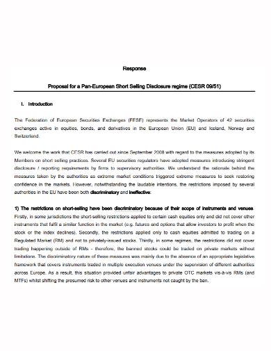 short sales response proposal