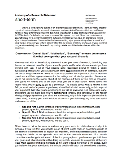 short term anatomy research statement