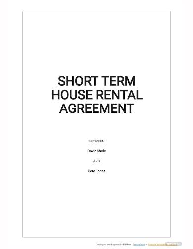 short term house rental agreement template