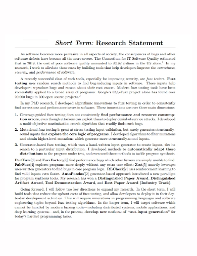 short term research statement
