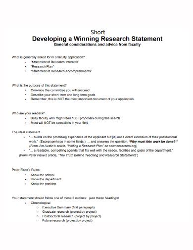 short winning research statement