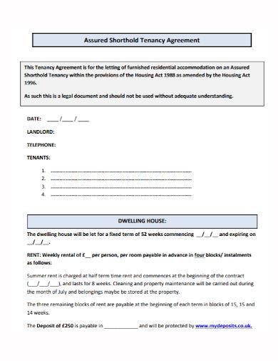 shorthold house tenancy agreement