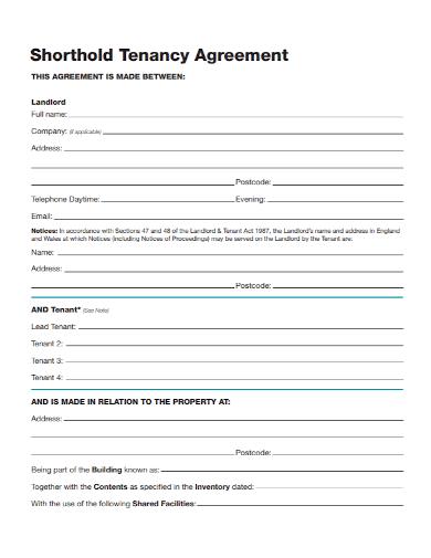 shorthold landlord tenancy agreement