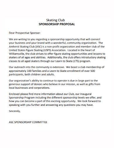skating club sponsorship proposal